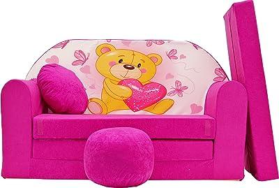 PRO COSMO H3 - Sofá Cama para niños con puf, reposapiés y cojín, de