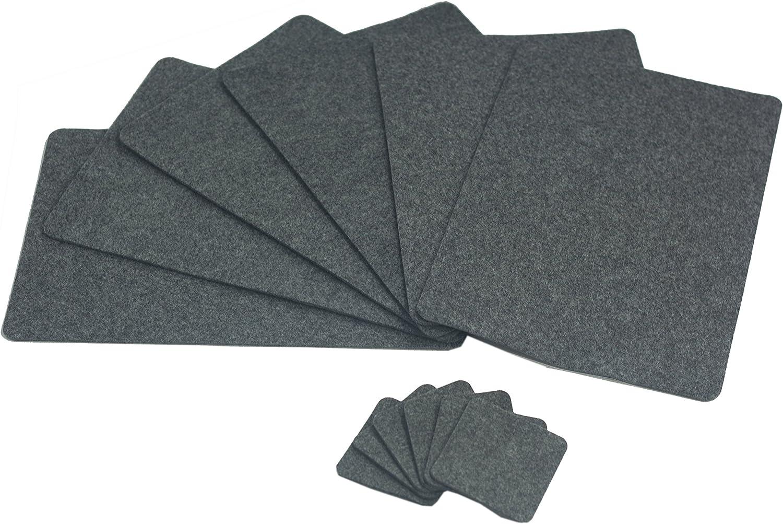 Sensalux 6X Filz Tischsets + 6X Glasuntersetzer Glasuntersetzer Glasuntersetzer grau-meliert + abgerundete Ecken, Tischset, Platzsets, Platzmatte, 4-5mm starker Filz, Untersetzer 30x45cm, Tischmatten B0784GH5Q2 aced93