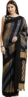 Monira Women's Linen Cotton Stripe Print Traditional Saree With Blouse Piece (Grey And Black)