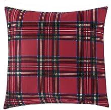RSVP Home Steven Stolman Tartan Plaid & Leopard Cotton Reversible 18 x 18 Throw Pillow, Red