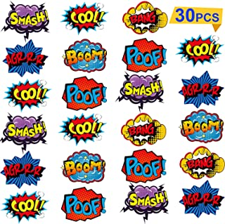 Blulu 30 Pieces Hero Themed Party Decorations, Hero Action Sign Cutouts Theme Party Signs Paper CardboardHeroCutouts for...