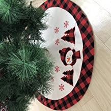 DegGod 36 Inches Checked Christmas Tree Skirt with Snowman Pattern, Pastoral Red and Black Buffalo Check Xmas Tree Base Co...