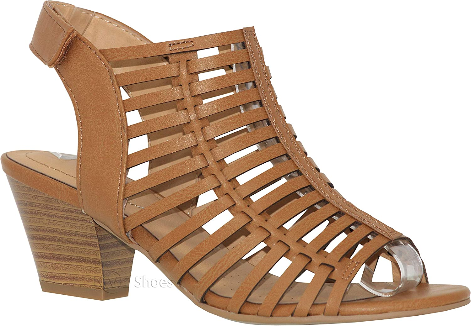 MVE shoes Women's Open Toe Perforate Laser Cut Chunky Heeled-Sandal