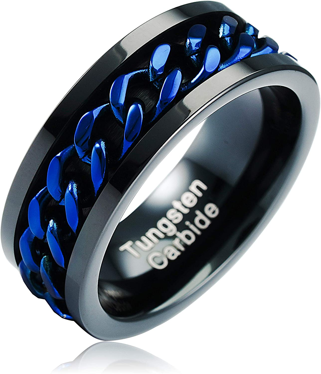 100S JEWELRY Spinner Import Oklahoma City Mall Ring Blue Link Wedding Tungsten Black Cuban