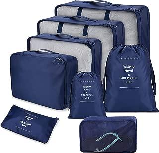 Bleu Zomiee Ensemble de 6 Organisateurs de Voyage emballant des Cubes Sacs Rangement de Valise Voyage Compression Poche Sac De Stockage pour des V/êtements