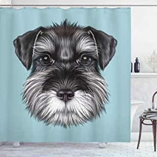 Ambesonne Animal Shower Curtain by, Illustration of a Cute Baby Schnauzer on Blue Background Puppy Portrait, Fabric Bathroom Decor Set with Hooks, 70 Inches, Light Blue Black White