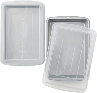 Wilton Recipe Right Non-Stick 13 x 9-Inch Covered Oblong Baking Pan with Lids, Pack of 2,Assorted