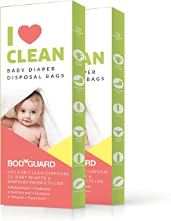BodyGuard Baby Diapers and Sanitary Pads Disposable Bags - 30 Bags - Oxo Biodegradable, Leak-Proof Bags for Discreet Disposal of Diapers and Intimate Sanitary Products