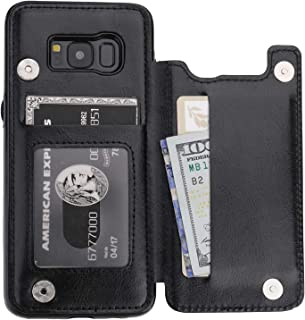 Vaburs S8 Case Wallet with Card Holder, Premium PU Leather Double Magnetic Buttons Flip Shockproof Protective Cover for Samsung Galaxy S8 (Black)