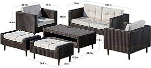 AE Outdoor DPS100290 Tampa 6 Pc. Deep Seating Patio Set, Tan