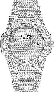 Unisex Luxury Full Diamond Watches Silver Gold Fashion Quartz Analog Stainless Steel Band Bracelet Wrist Watch