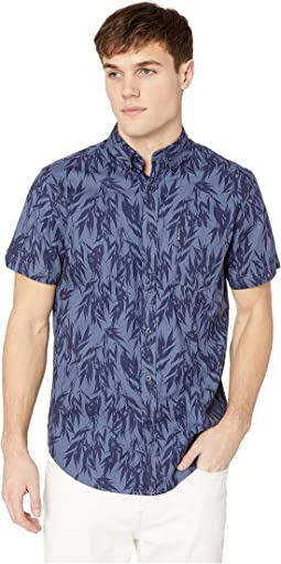 Short Sleeve Leafy Print Shirt