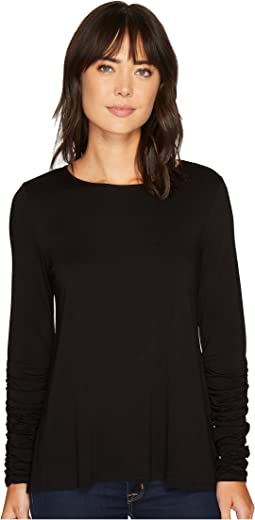 Long Ruched Sleeve High-Low Hem Top