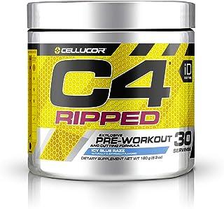 C4 Ripped Pre Workout Powder Icy Blue Razz   Creatine Free + Sugar Free Preworkout Energy Supplement for Men & Women   150...
