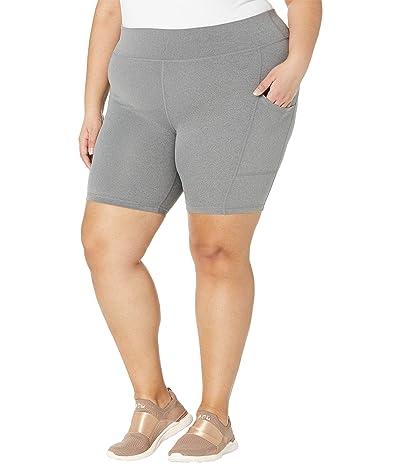 HUE Plus Size Active Pep Talking Bike Shorts (Still Grey) Women