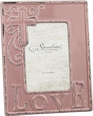 Stonebriar Ceramic Love Photo Frame, Dusty Rose