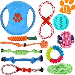 Perkisboby Dog Puppy Toys, Puppy Tug Toys for Playtime and Teeth Cleaning, IQ Treat Ball Squeak Toys and Dog Flying Disc I...