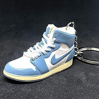 Air Jordan I 1 Retro High UNC Carolina Powder Blue White OG Sneakers Shoes 3D Keychain Figure