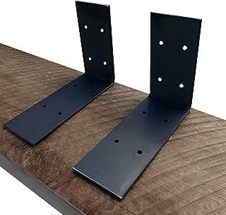 Industrial Forged Steel Floating Shelf L/J Bracket by DIY CARTEL - Heavy Duty Extra Wide Rustic Shelf Brackets - 2 Pack Wall Mount (Raw Steel)