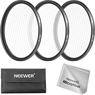 Neewer 58MM 3 Pieces Points Star Lens Filters Kit for Canon EOS Rebel T6i T6 T5i T5 T4i T3i SL1 DSLR Camera, Includes 4 / 6 / 8 Points Star Filter, Made of HD Glass and Aluminum Frame Materia (Black)