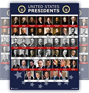 All Presidents of the united states Of America poster NEW chart LAMINATED Classroom school decoration learning history usa 15x20