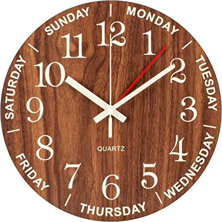 DayClocks Time /& Day of The Week Wall Clock Home or Office Wall Clock with Days of The Week 12 Great Retirement Clock for Men /& Women -Modern Black Frame Analog Clock with Time /& Days of The Week