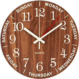 BEW Luminous Wall Clock, Time of Day & Day of The Week Wall Clock, Night Light Numerals & Hands Glow in Dark, Silent Battery Operated Wooden Clock for Bedroom, Living Room, Retirement Gift, 14-Inch