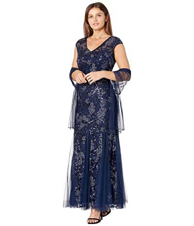 Alex Evenings Petite Long Cap Sleeve Embroidered Fit-and-Flare Dress with Shawl
