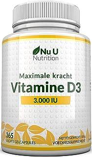 Vitamine D3 3000 IE - 365 Softgels (Jaarvoorraad) - Driedubbele Sterkte Vitamine D3 Supplement - Hoge Absorptie Cholecalci...