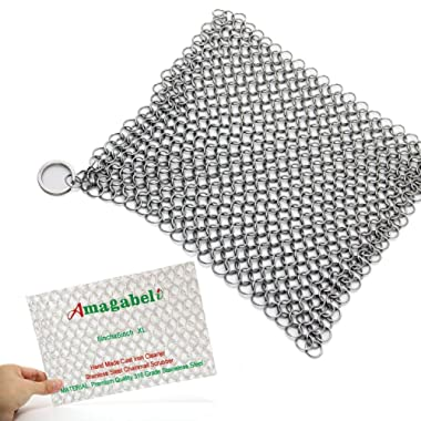 "Amagabeli Stainless Steel Cast Iron Cleaner 8""x6"" 316L Chainmail Scrubber Pan Scraper Cookware Accessories Pan Dutch Ovens Polycarbonate Skillet Scraper Pot Grill Brush Seasoning Cleaning Tools Set"