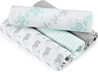 Aden by aden + anais Swaddle Baby Blanket, 100% Cotton Muslin, 4 Pack, 44 X 44 inch, Baby Star - Elephants