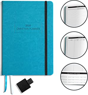 """$39 » Christian Planner 2020 Planner, Bible Journal, and Gratitude Journal   7""""x10"""" Lay Flat Hardcover Vegan Leather Journal with Thick No-Bleed Paper   Month, Week & Daily Organizer (Pacific Teal)"""