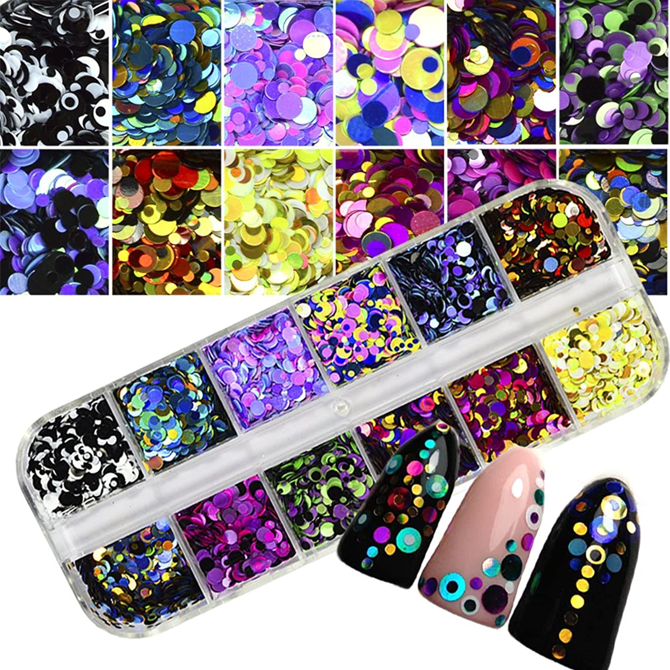 疎外名前起点1 Set Dazzling Round Nail Glitter Sequins Dust Mixed 12 Grids 1/2/3mm DIY Charm Polish Flakes Decorations Manicure Tips Kit