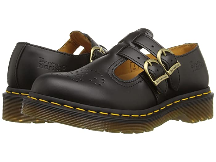 Retro Vintage Flats and Low Heel Shoes Dr. Martens 8065 Black Smooth Womens Maryjane Shoes $119.95 AT vintagedancer.com