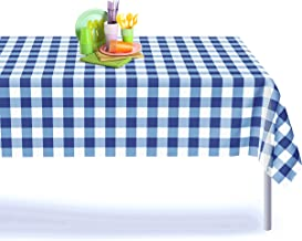 Blue Gingham Checkered 12 Pack Premium Disposable Plastic Picnic Tablecloth 54 Inch. x 108 Inch. Rectangle Table Cover By Grandipity