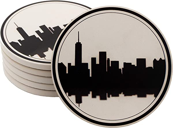 CoreDP Highly Absorbent And Classy Drink Coasters With Cork Base 4 2 Inch Diameter Set Of 6 With Modern City Design Perfect Gift To Upgrade Any Room