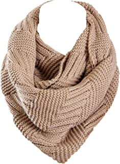 Knit Infinity Scarf for Women Fashion Winter Circle Loop Scarves(Red/Yellow/Gray/White/Black)