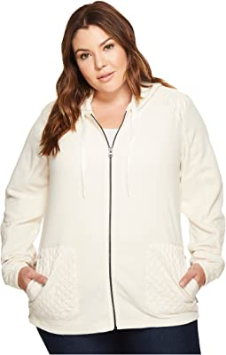 d6320f706b9c Plus Size Warm Up Hooded Fleece Full Zip