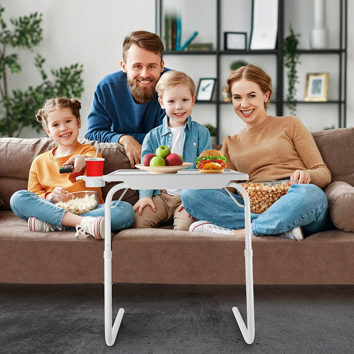 Black Comfortable Couch Desk Cup Holder Built-in with 6 Height /& 3 Tilt Angle Adjustable Mejerca TV Tray Table Folding TV Dinner Tray on Bed /& Sofa