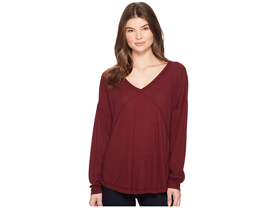 Three Dots Thermal Mixed Rib Top (Shiraz) Women