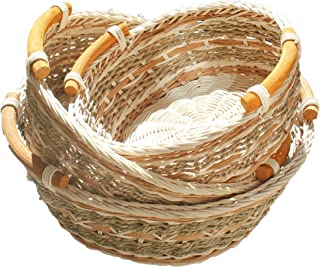 ShopOnNet RT450120-3 Handwoven Round Wicker Storage Basket Curve Pole Handle in Gray and Brown (Set of 3)