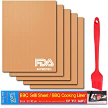 PEMOTech Grill Mats Non Stick, BBQ Grill Mat Set of 5, Copper Grill Mat as Seen on TV with Basting Brush, FDA-Approved, Reusable Grill Mat Easy to Clean, Heat Resistant BBQ Grill Mat - 16 x 13 inch