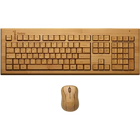 Bamboo Electronics - QWERTY Bamboo Juego de Teclado y Mouse inalámbricos, Madera Natural, Tacto Agradable, Fácil de Usar, Decorativo y Funcional ...