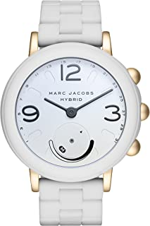 Marc Jacobs Women's Riley Aluminum and Silicone Hybrid Smartwatch, Color: Gold-Tone, White (Model: MJT1004)