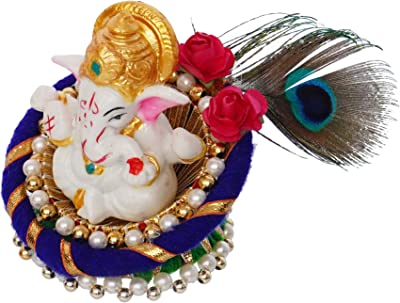 eCraftIndia Lord Ganesha Idol on Decorative Handcrafted Floral Plate for Home and Car, Blue, Green, Golden and White, one Size (MSGG633)