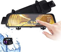 """Rexing M1 HD Dual Channel Rear View 10"""" IPS Touch Screen Mirror Dash Cam 1296p + 720p Wide Angle Dashboard Streaming Media Recorder DVR with Rear Camera, G-Sensor, Loop Recording, Backup Camera"""