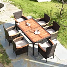 Tangkula 7 PCS Outdoor Patio Dining Set, Garden Dining Set w/Acacia Wood Table Top, Stackable Chairs with Soft Cushion, Po...