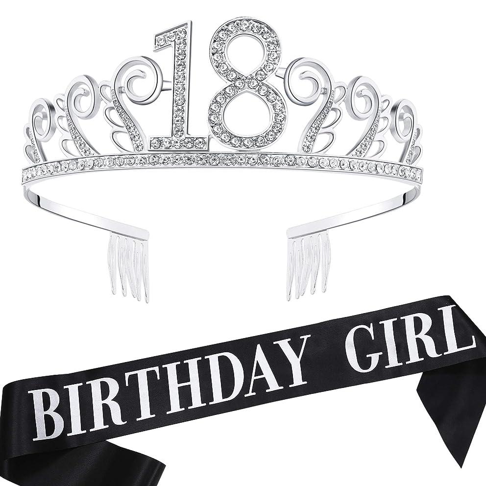 BABEYOND 18th Birthday Tiara and Sash Crystal Happy Birthday Crown and Satin Birthday Girl Sash 18th Birthday Party Supplies Rhinestone 18th Princess Crown and Glitter Sash (Set-3)