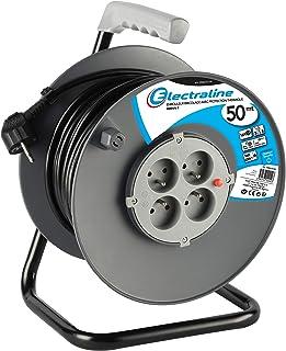 Electraline 20867019F Rallonge Prolongateur électrique 50 m avec enrouleur 4 Prises 16 A section 3G1,5 mm² Gris