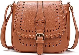 Forestfish Damen PU Leder Vintage Hollow Bag Crossbody Bag Umhängetasche